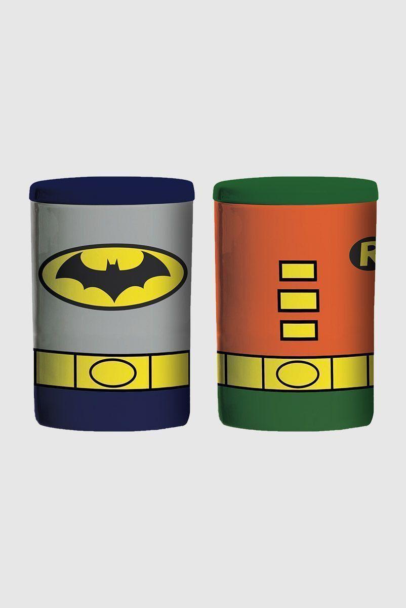 Set 2 Potes de Cerâmica Batman e Robin