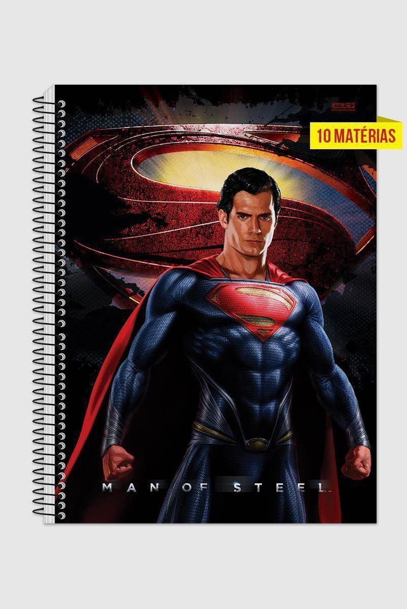 Caderno Superman Man of Steel Hero 10 Matérias