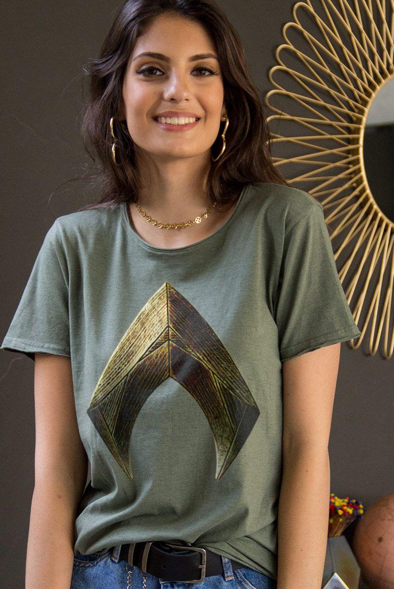 T-shirt Feminina Aquaman Logo Movie