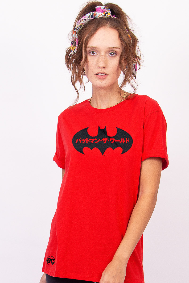 T-shirt Feminina Batman O Mundo Japão Logo
