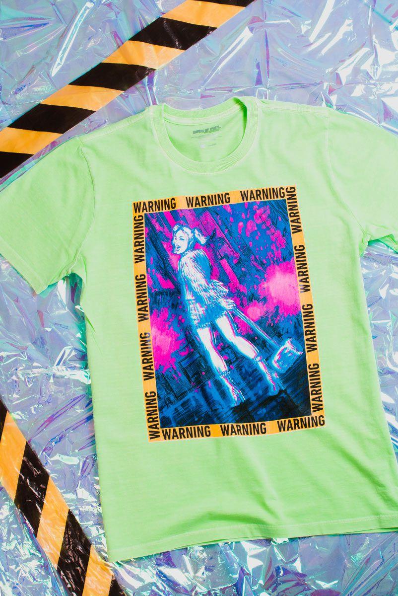 NÃO ATIVAR T-shirt Feminina Birds of Prey Harley Quinn Warning - Aves de Rapina