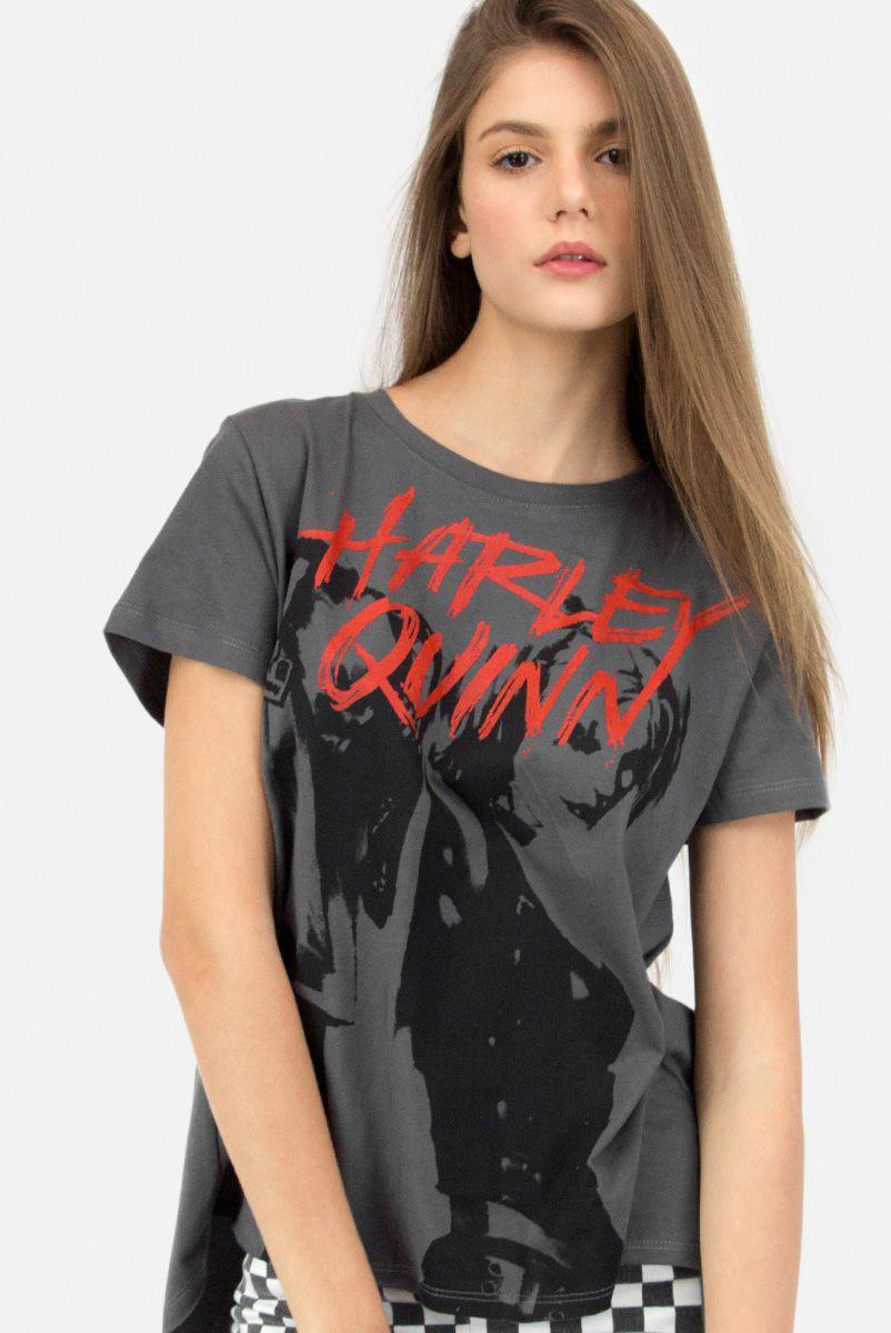 NÃO ATIVAR T-Shirt Feminina com Fenda Harley Quinn