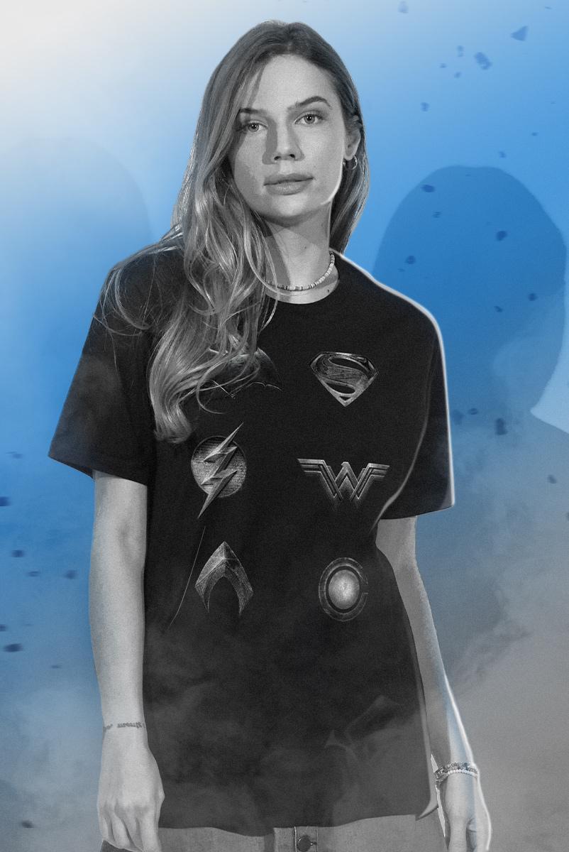 T-shirt Feminina Liga da Justiça Snyder Cut - Logos Herois Liga