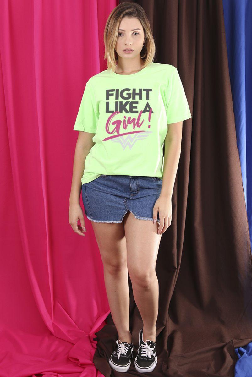 T-Shirt Feminina Mulher Maravilha Fight Like A Girl