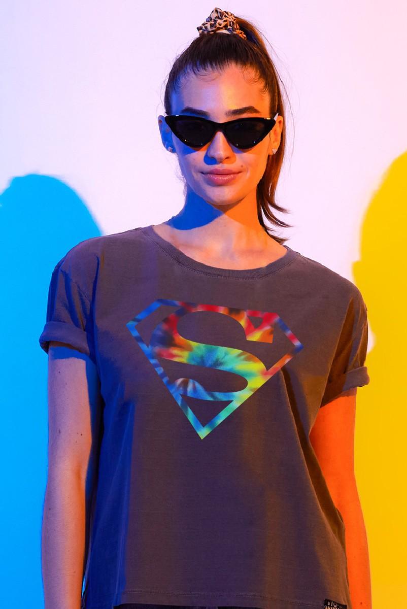 T-shirt Feminina Superman Logo Colorido