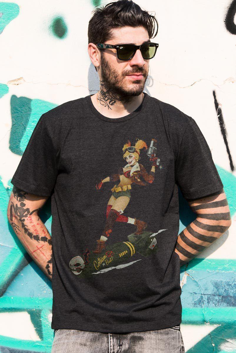 Camiseta Masculina Harley Quinn Gotham or Bust!