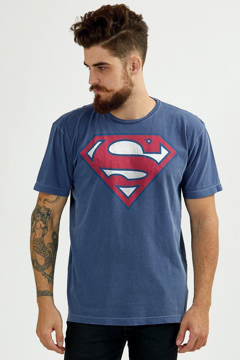 T-shirt Premium Masculina Superman 80 Anos Logo