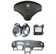 Kit Air Bag Bolsa Motorista e Passageiro Par de Cintos Modulo Painel Tabelier Cor Preto Peugeot 308 408 011 012 013