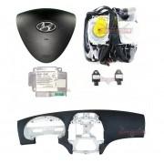 Kit Air Bag do Painel Bolsa do Motorista e Passageiro Sensores Par de Cintos Modulo Plug Verde Hyundai I30 010 011 012