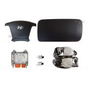 Kit Air Bag do Painel Bolsa Motorista e Passageiro Modulo Conector Laranja Par de Cinto Grafite e Sensor Hyundai Santa Fé 011 012