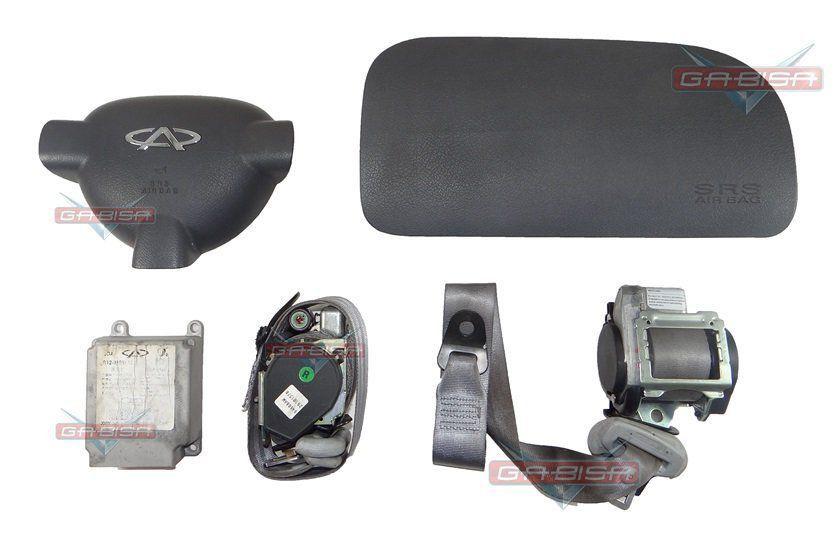 Kit Air Bag do Painel Bolsa Motorista e Passageiro Modulo Par de Cintos Chery Face 012 013 014