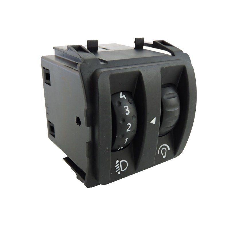 Botão Interruptor Regulagem Altura De Farol e Reostato do Painel Renault 25190686r Fluence 010 011 012 013 014 015 016