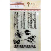 Cartela de Carimbos em Silicone - Modelo Canção dos Pássaros - Coleção Botânica Vintage / Juju Scrapbook