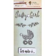 Cartela de Enfeites Baby Girl - Coleção Meu Coração é Seu / JuJu Scrapbook