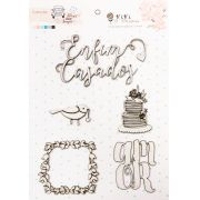 """Cartela de Enfeites """"Enfim Casados"""" - Coleção Felizes Para Sempre / JuJu Scrapbook"""