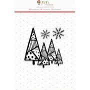 """Coleção Noite Feliz - Carimbo Mini """"Floresta de Natal"""" / JuJu Scrapbook"""