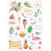Coleção Paraíso Tropical by Babi Kind - Adesivo Viva o Sol / JuJu Scrapbook