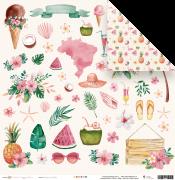 """Coleção Paraíso Tropical by Babi Kind - Papel """"Férias de verão"""" / JuJu Scrapbook"""