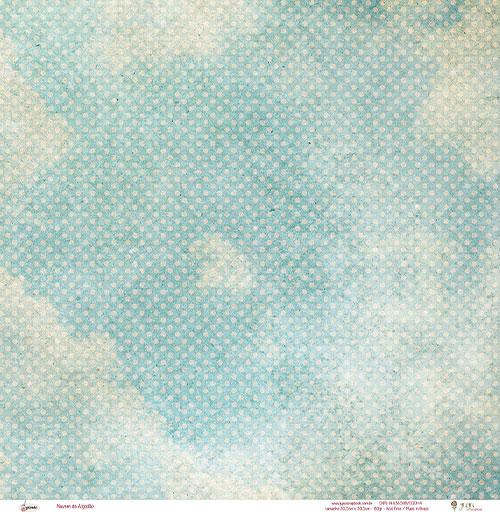 Papel Modelo Nuvem de Algodão - Coleção Picnic / JuJu Scrapbook  - JuJu Scrapbook