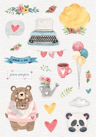 Coleção Abraço de Urso by Estúdio 812 - Adesivo Você + Eu / JuJu Scrapbook  - JuJu Scrapbook