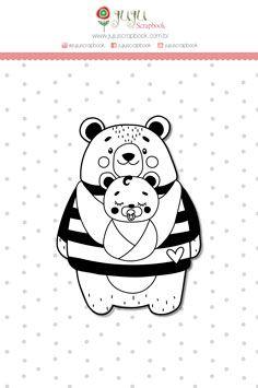 """Coleção Abraço de Urso by Estúdio 812 - Carimbo XG """"Mãe Ursa"""" / JuJu Scrapbook  - JuJu Scrapbook"""