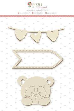 """Coleção Abraço de Urso by Estúdio 812 - Cartela de Enfeite """"Panda"""" / JuJu Scrapbook  - JuJu Scrapbook"""