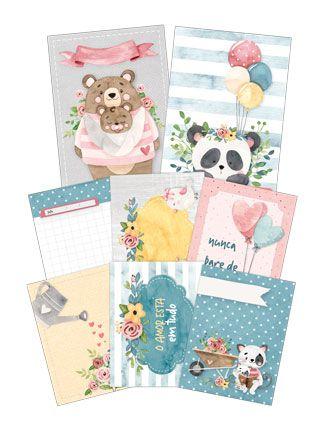 "Coleção Abraço de Urso by Estúdio 812 - Kit de Cards ""Nunca Pare de Amar"" / JuJu Scrapbook  - JuJu Scrapbook"