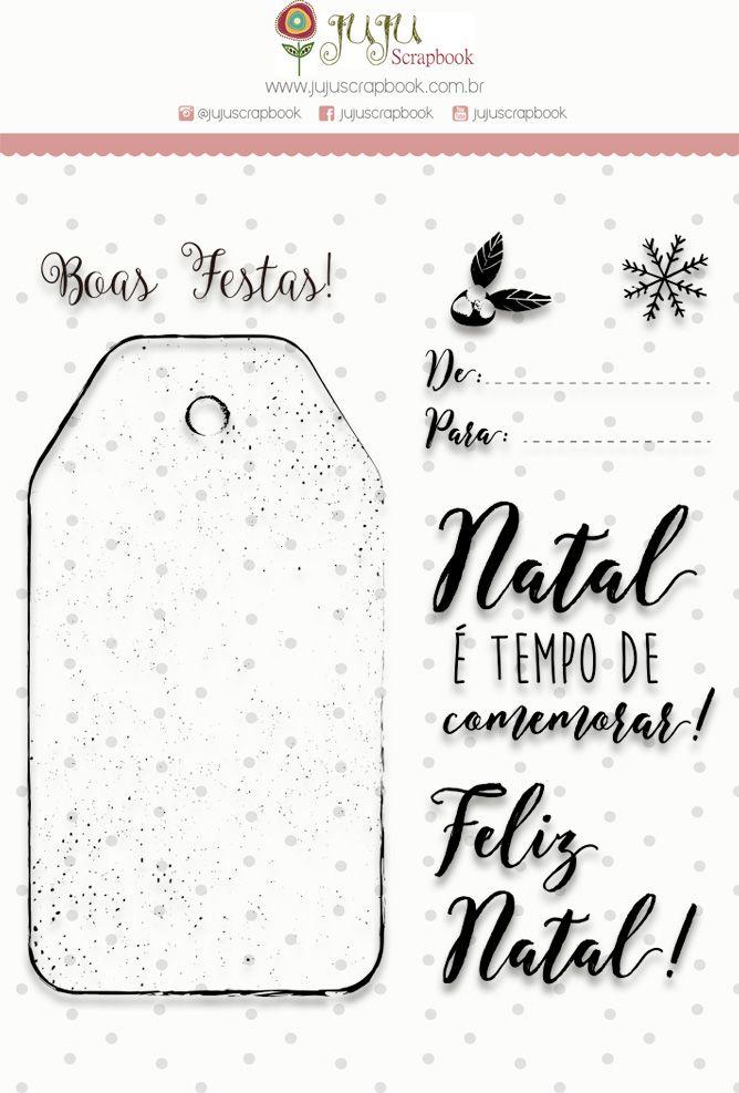 """Coleção Noite Feliz - Carimbo G """"Tempo de Comemorar"""" / JuJu Scrapbook  - JuJu Scrapbook"""