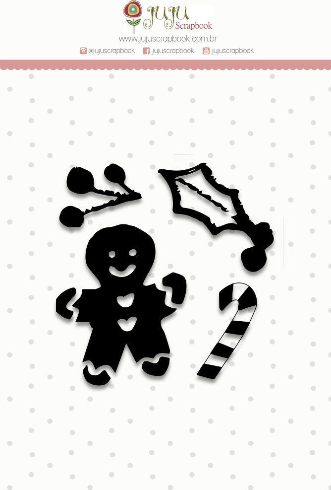 "Coleção Noite Feliz - Carimbo Mini ""Biscoitinho"" / JuJu Scrapbook  - JuJu Scrapbook"
