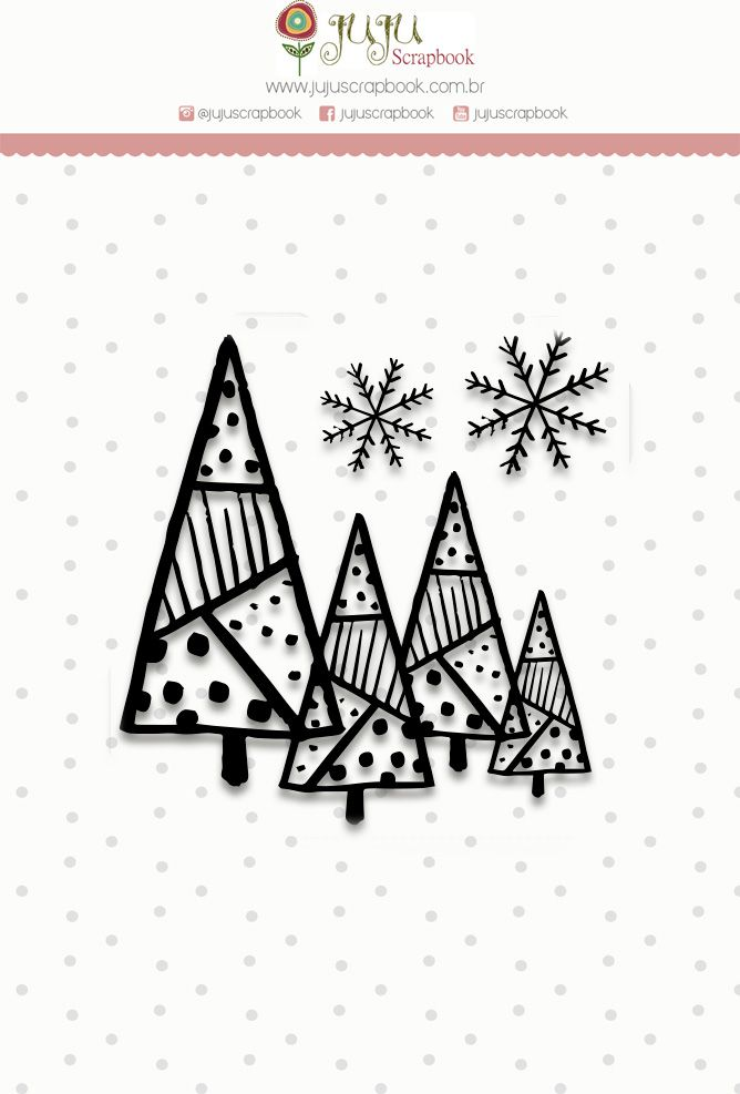 """Coleção Noite Feliz - Carimbo Mini """"Floresta de Natal"""" / JuJu Scrapbook  - JuJu Scrapbook"""
