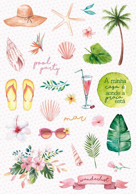 Coleção Paraíso Tropical by Babi Kind - Adesivo Pool Party / JuJu Scrapbook  - JuJu Scrapbook