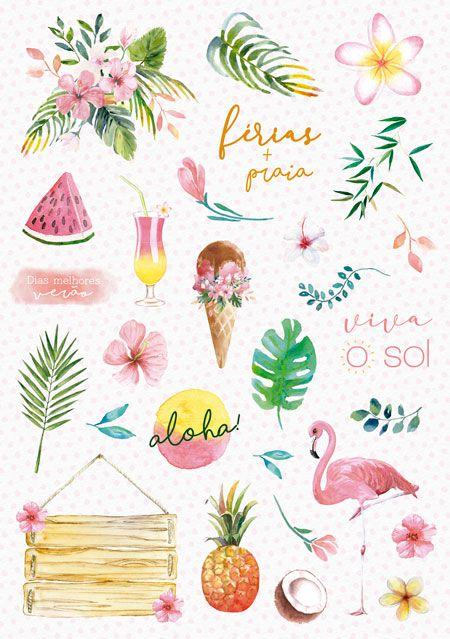 Coleção Paraíso Tropical by Babi Kind - Adesivo Viva o Sol / JuJu Scrapbook  - JuJu Scrapbook