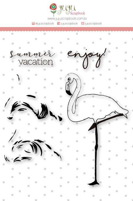 """Coleção Paraíso Tropical by Babi Kind - Carimbo XG """"Flamingo em Camadas"""" / JuJu Scrapbook  - JuJu Scrapbook"""