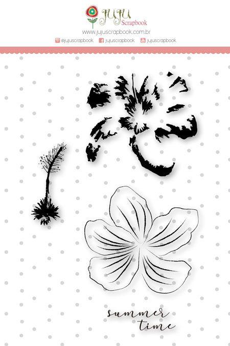 "Coleção Paraíso Tropical by Babi Kind - Carimbo XG ""Flor em Camadas"" / JuJu Scrapbook  - JuJu Scrapbook"