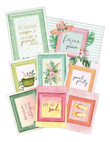 "Coleção Paraíso Tropical by Babi Kind - Kit de Cards ""Pôr do Sol"" / JuJu Scrapbook  - JuJu Scrapbook"