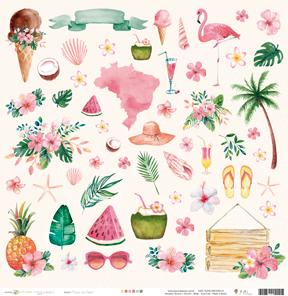 """Coleção Paraíso Tropical by Babi Kind - Papel """"Férias de verão"""" / JuJu Scrapbook  - JuJu Scrapbook"""