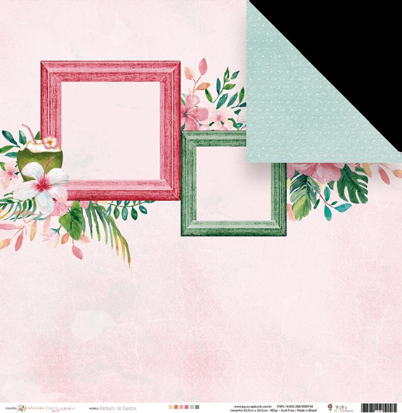 "Coleção Paraíso Tropical by Babi Kind - Papel ""Retrato de Família"" / JuJu Scrapbook  - JuJu Scrapbook"