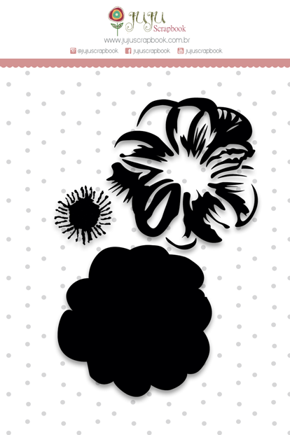 "Coleção Shabby Dreams by Babi Kind - Carimbo ""Camadas Flor"" / JuJu Scrapbook  - JuJu Scrapbook"