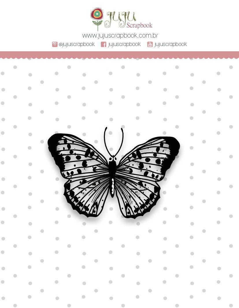 "Coleção Shabby Dreams by Babi Kind - Carimbo Mini ""Borboleta"" / JuJu Scrapbook  - JuJu Scrapbook"