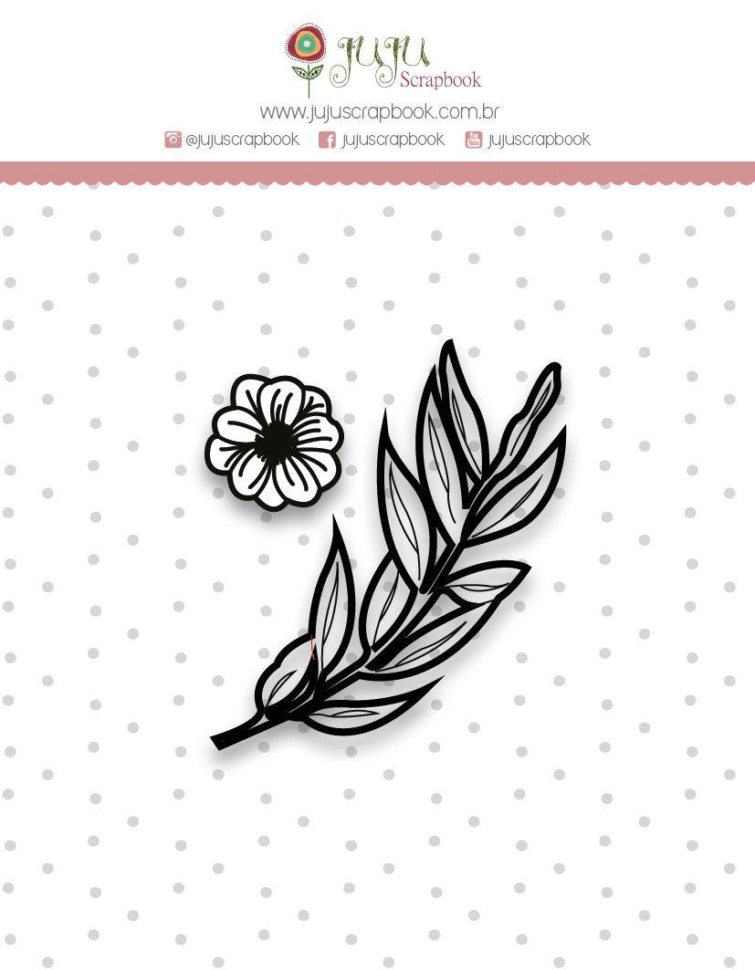 "Coleção Shabby Dreams by Babi Kind - Carimbo Mini ""Folhinhas"" / JuJu Scrapbook  - JuJu Scrapbook"