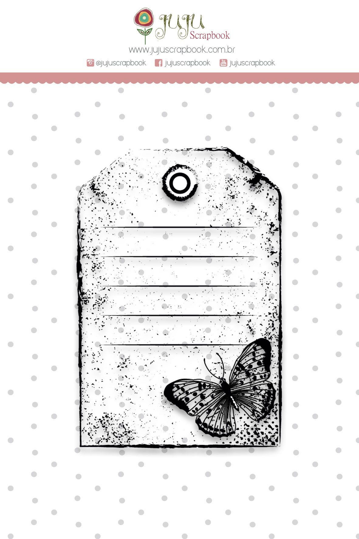 "Coleção Shabby Dreams by Babi Kind - Carimbo ""Tag Borboleta"" / JuJu Scrapbook  - JuJu Scrapbook"