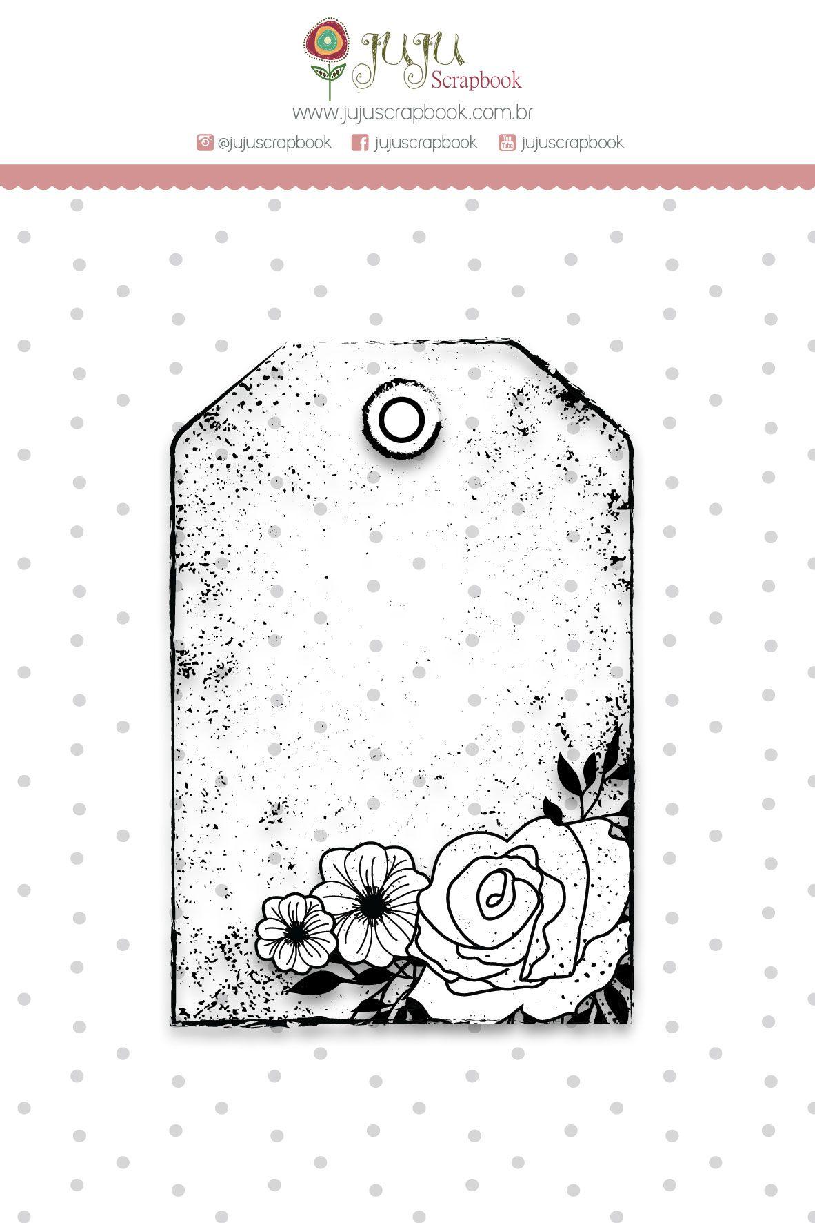 "Coleção Shabby Dreams by Babi Kind - Carimbo ""Tag Rosas"" / JuJu Scrapbook  - JuJu Scrapbook"