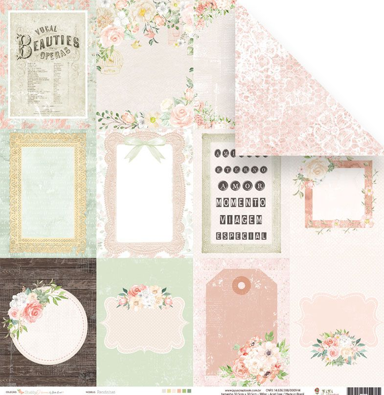 Coleção Shabby Dreams by Babi Kind - Kit Coordenado / JuJu Scrapbook  - JuJu Scrapbook