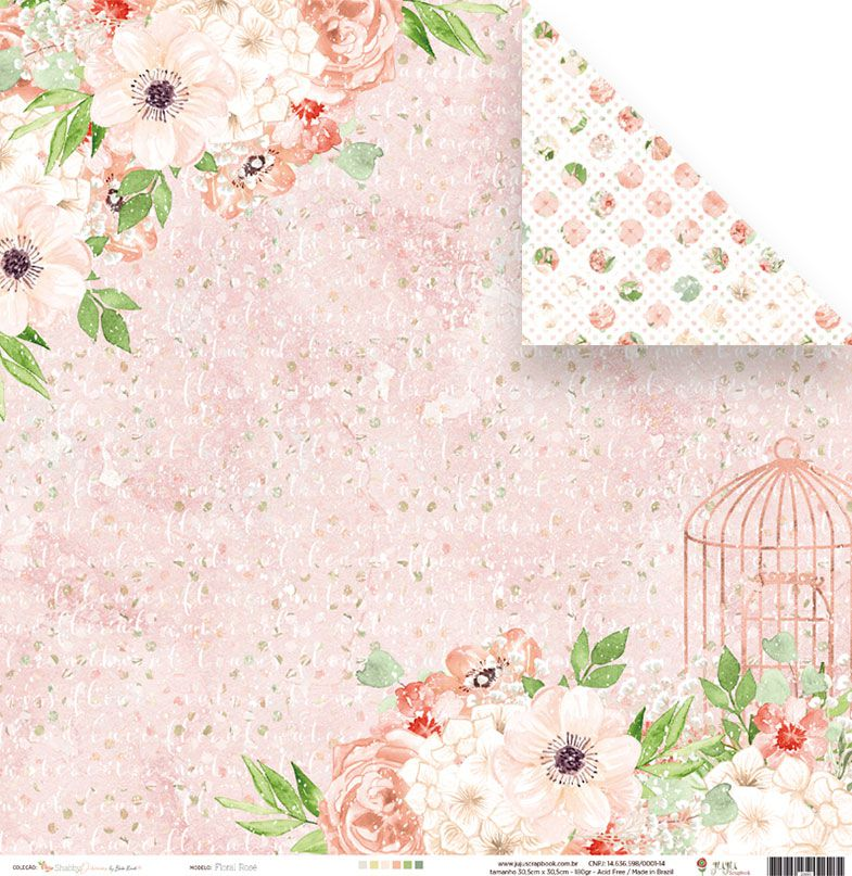 Coleção Shabby Dreams by Babi Kind - Papel Floral Rosé / JuJu Scrapbook  - JuJu Scrapbook