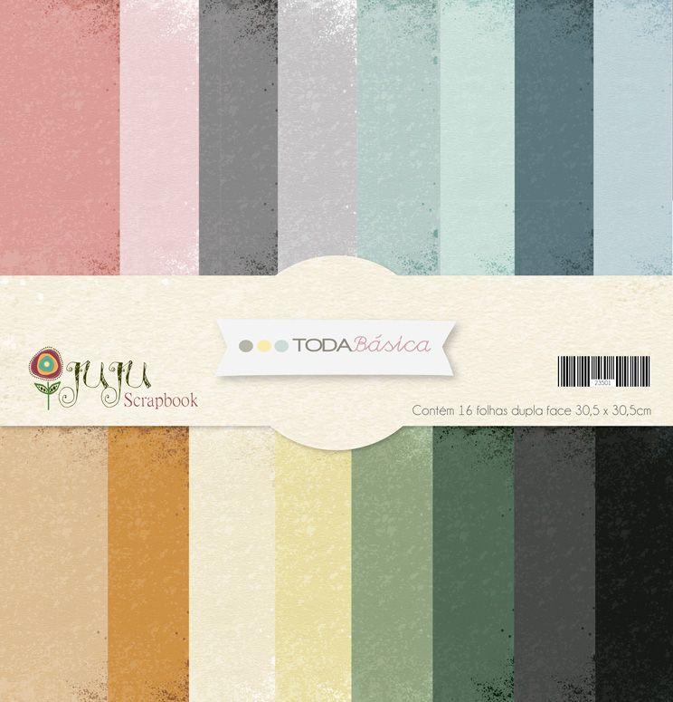 Kit Coordenado 16 papéis - Coleção Toda Básica / JuJu Scrapbook  - JuJu Scrapbook