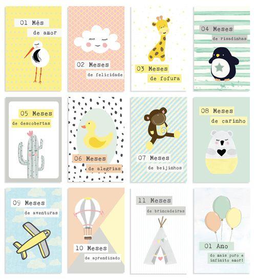Kit de Cards 1 Ano de Amor Tamanho G - Coleção Meu Coração é Seu / JuJu Scrapbook  - JuJu Scrapbook