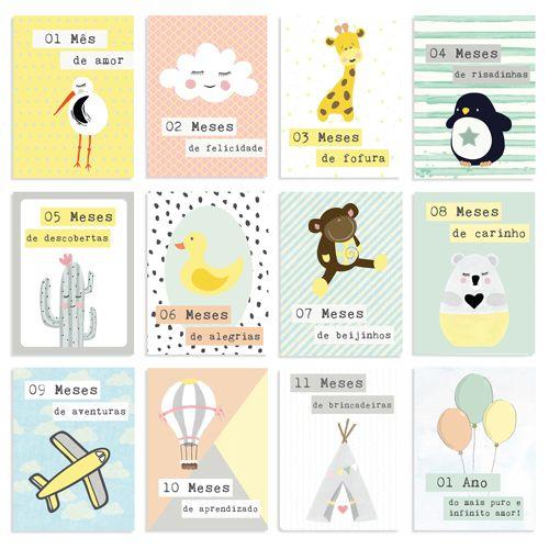 Kit de Cards 1 Ano de Amor Tamanho P - Coleção Meu Coração é Seu / JuJu Scrapbook  - JuJu Scrapbook