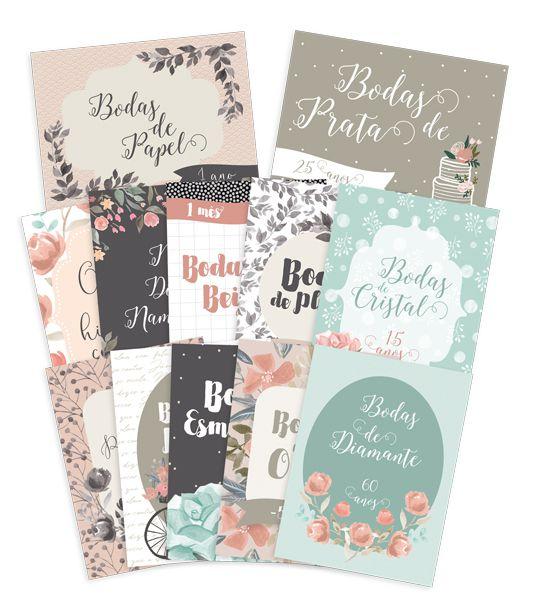 Kit de Cards Bodas de Amor P - Coleção Felizes para Sempre / JuJu Scrapbook  - JuJu Scrapbook