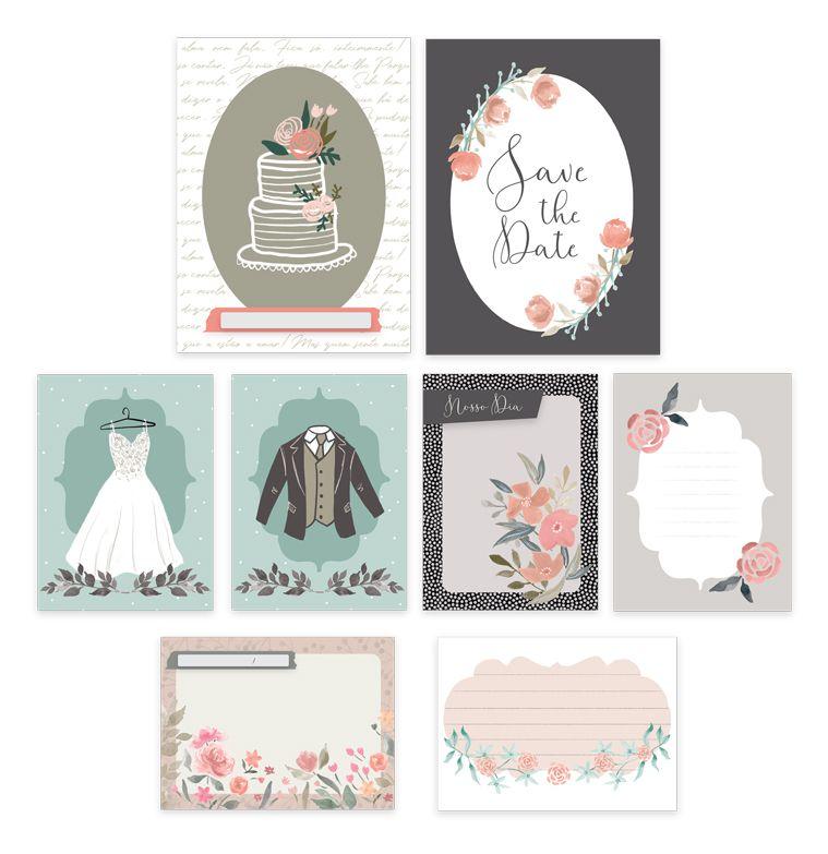 Kit de Cards Nosso Dia - Coleção Felizes para Sempre / JuJu Scrapbook  - JuJu Scrapbook