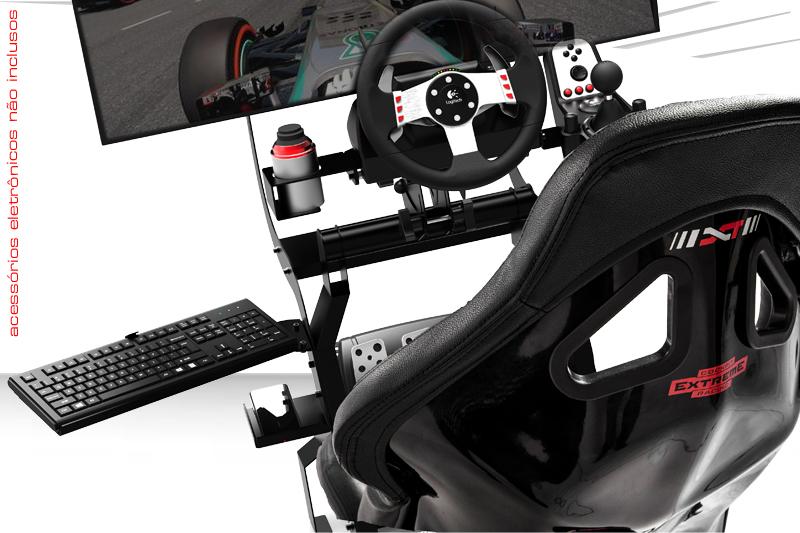 Cockpit XT Sport Extreme Racing com acessórios para Tv, teclado, mouse , celular, Pc ou console Preto - Stock Car
